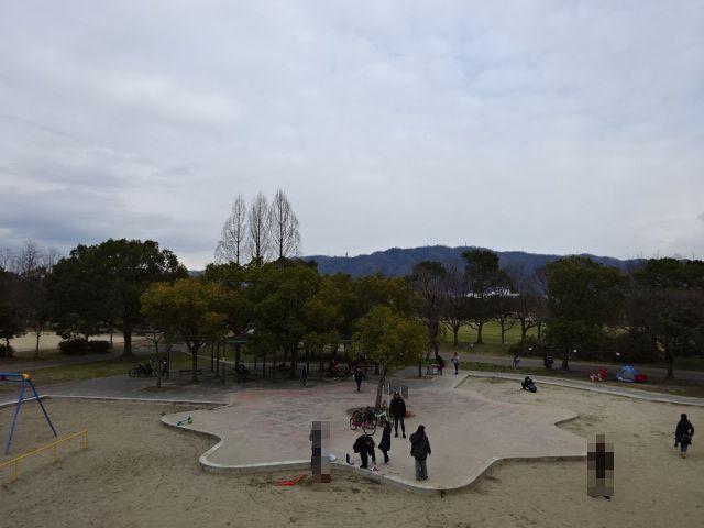 恐竜広場の遊具「難破船」上からの景色