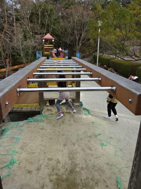 生駒山麓公園の大型木製遊具のうんてい