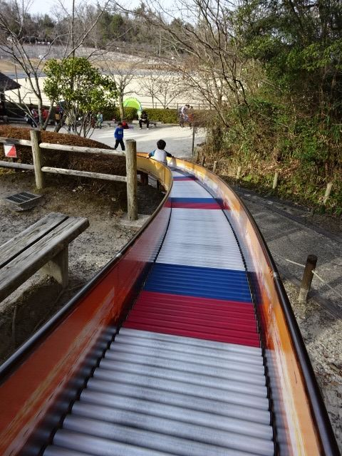 生駒山麓公園の大型木製遊具のローラーすべり台その2