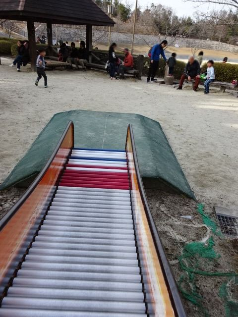 生駒山麓公園の大型木製遊具のローラーすべり台その3
