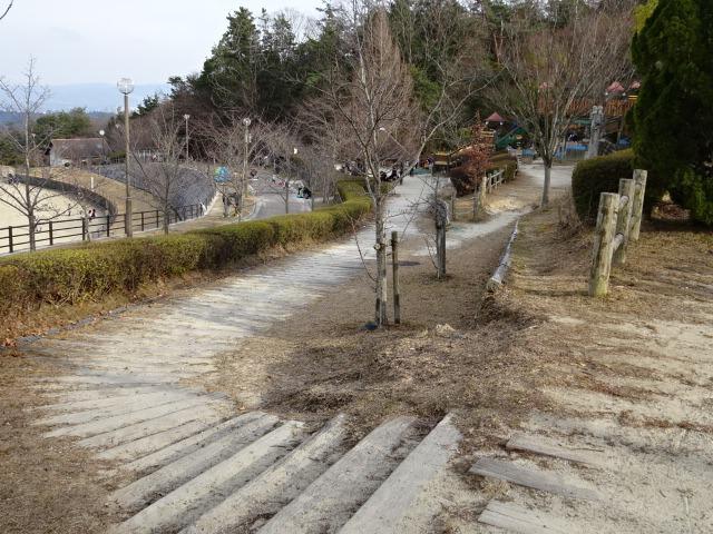 生駒山麓公園の大型木製遊具への道