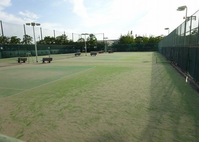 八幡市民スポーツ公園のグラウンドのテニスコート