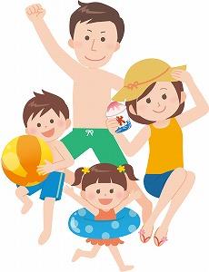 プールに出かける家族