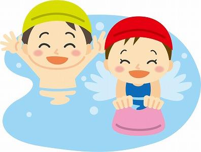 プールで遊ぶ水泳キャップをかぶった子供たち