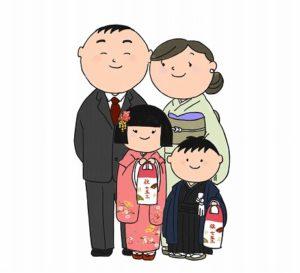 七五三パパのスーツと家族写真