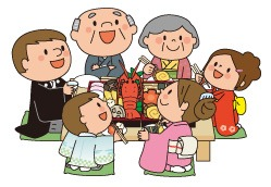 お正月の家族