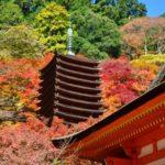 談山神社の紅葉十三重塔