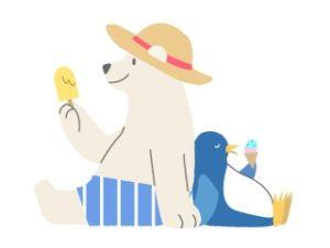 アイスを食べるクマとペンギン